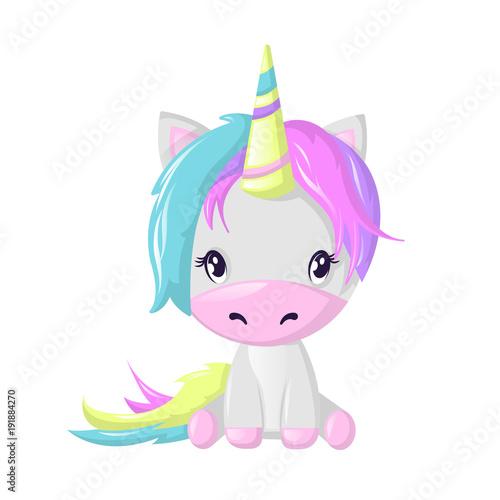 Poster Pony Funny beautiful fictional cartoon character, colorful unicorn. Fantasy fairy animal.