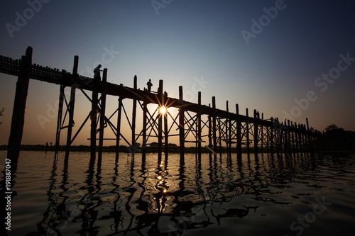 U bein bridge - famous and longest teak wood bridge over Taungthaman Lake, Myanmar