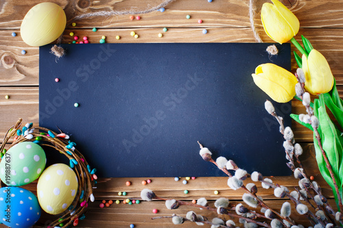canvas print picture Happy Easter. Congratulatory easter background. Easter eggs and flowers.