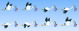 Storks with baby, animation sprite sheet,  flying animation, new born baby, baby girl, baby boy