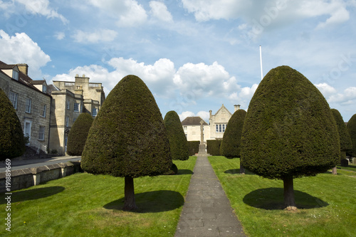 Foto Murales Famous yew trees in the churchyard at Painswick, Gloucestershire, Cotswolds, UK
