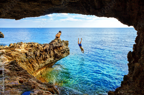 In de dag Cyprus Sea cave near Cape Greko of Ayia Napa and Protaras on Cyprus island, Mediterranean Sea.