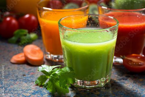 Fotobehang Sap assortment of vegetable juices, closeup