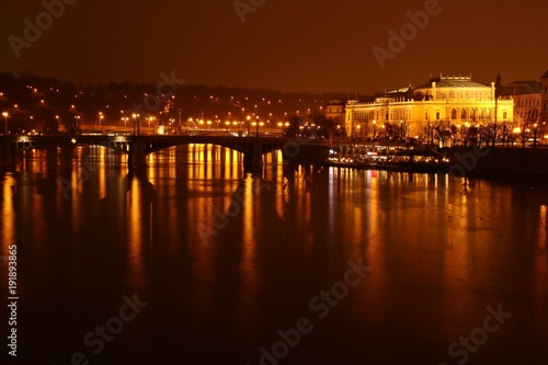 Fotobehang Praag Blick über die Moldau auf das Rudolfinum in Prag