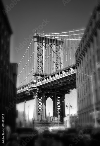 Poster New York Brooklyn bridge in New York in sepia