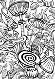 Mushrooms Coloring antistress book page