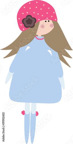 Dziecięca lalka w niebieskiej sukience.