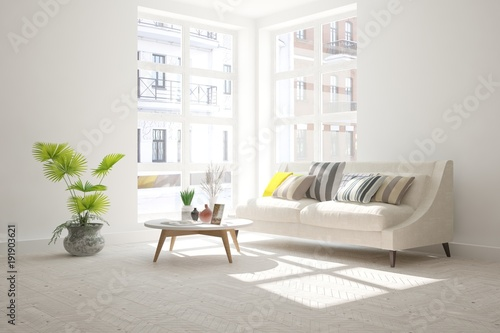 Wall mural White room with sofa and urban landscape in window. Scandinavian interior design. 3D illustration