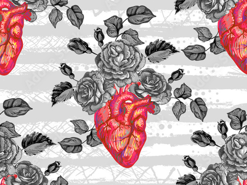 Seamless pattern with rose flower and heart. Blooming anatomical human heart. Vector hand drawn illustration in vintage style. Perfect for wallpaper, pattern fill, web page background, surface texture - 191905219