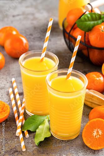 Mandarin orange juice. Refreshing summer drink. Fruit refreshment beverage