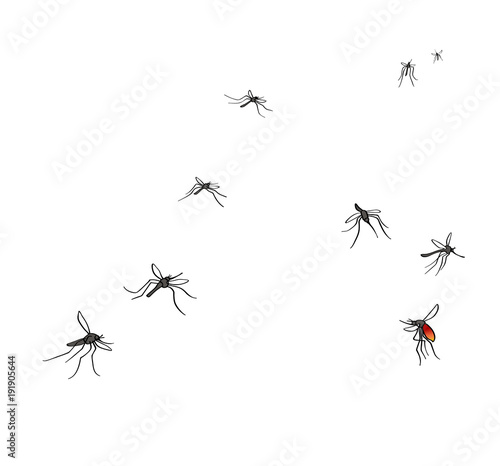 A flock of flying mosquitoes. Drunk blood and hungry mosquitoes. Silhouette, graphic image. Vector, isolated on white background - 191905644