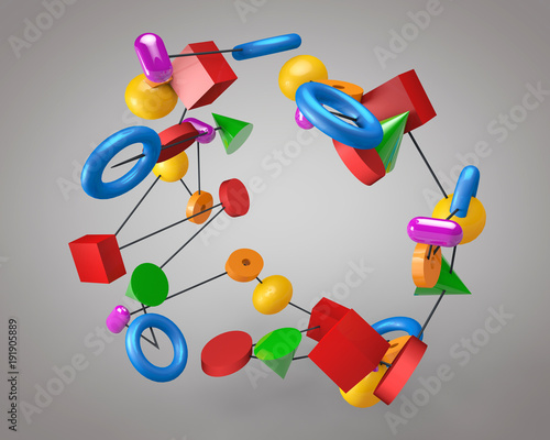 3d illustration of multicolored figures on a gray background.
