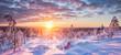 Leinwandbild Motiv Winter wonderland in Scandinavia at sunset