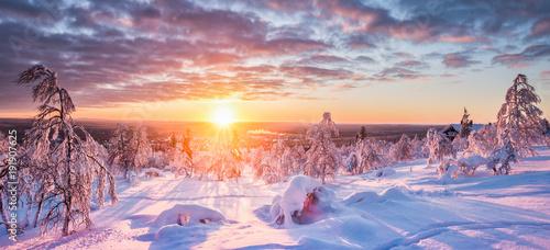 Winter wonderland in Scandinavia at sunset © JFL Photography