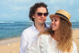 Happy couple walking at the beach, sea view. Traveling at Bali. - 191910446