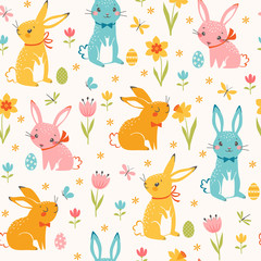 Cute Easter seamless pattern of multicolored  bunnies, Easter eggs, spring flowers, butterflies and dragonflies.  © fireflamenco