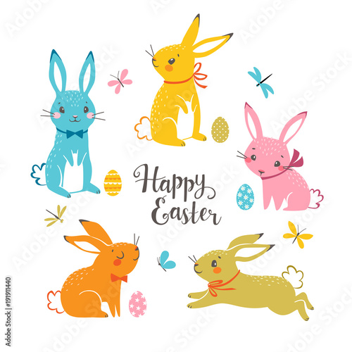 Set of cute colorful Easter bunnies, Easter eggs, butterflies, dragonflies and hand drawn text. - 191911440