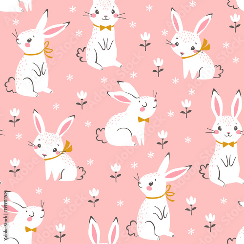 Cotton fabric Seamless pattern of cute white bunnies on pink background with floral elements.
