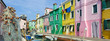 glimpse of the island of Burano in Venice with its characteristic colored houses and fishermen's nets