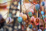 Colorful Easter eggs sold on Easter fair in Vilnius - 191916437