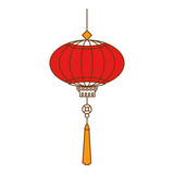 chinese lamp hanging icon vector illustration design - 191918811