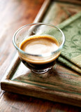 Glass of espresso on old wooden frame - 191923047