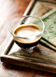 Glass of espresso on old wooden frame - 191923895