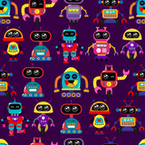 A Cute Small Friendly Blue  A Red Robot  Antennas And Wires Kind Vintage Eyes And Comic Style Inscriptions  Seamless Robot Pattern For Girls Or Boys Creative Robot  Pattern Wall Sticker
