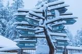 Plenty of Various Directions Signs Located in Santa Claus (Joulupukki) Village in Rovaniemi Village in Finland - 191929028