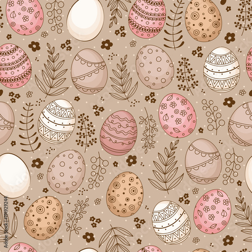 Materiał do szycia Seamless Easter pattern with doodle ornamental eggs and floral motifs. Vintage spring easter holiday colorful background. Eggs, flowers, branches and berries.