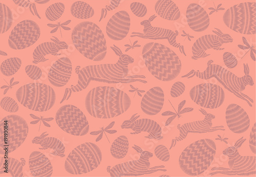 Cotton fabric Easter hunt. Seamless Easter pattern. Rabbits and eggs on a pink background. Festive decor.