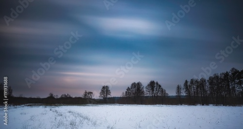 Winter landscape photographed with long exposure