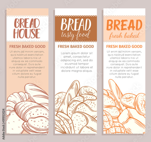 banners with bread product