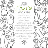 hand drawn sketch olives and olive oil - 191933228