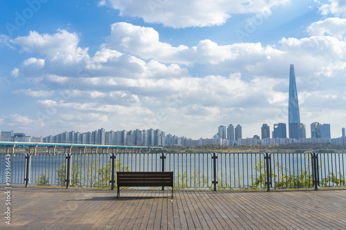 Keuken foto achterwand Seoel Hangang river with clear skies
