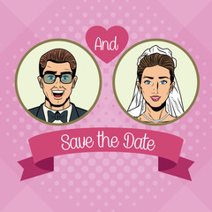Save the date pop art cartoon vector illustration graphic design Weedingd people