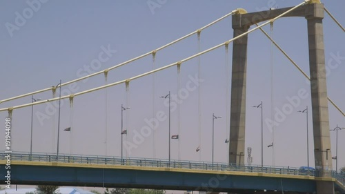 A view of a bridge in Khartoum with cars driving by in Khartoum, Sudan