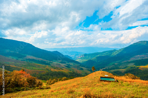 Poster Pool high mountains peaks range clouds in fog scenery landscape national park view outdoor at Chiang Rai, Chiang Mai Province, Thailand
