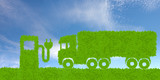 environmentally friendly transport concept, green truck and electricity distributor