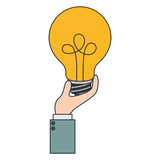 hand with bulb light vector illustration design - 191954405