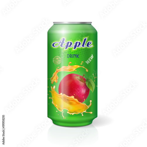 Apple juice in aliminium can realistic Vector. Package design for advertising