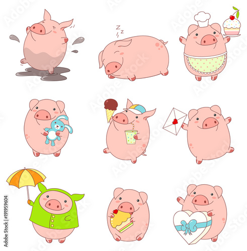 Collection of cute pigs - 191959604