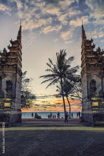 Aluminium Bali Gate to the Kuta beach in Bali, Indonesia