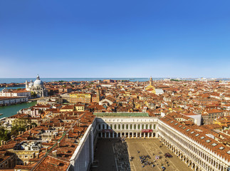 Panoramic view of Venice from the Campanile tower of St. Mark's Cathedral, Italy
