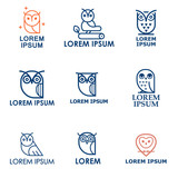 Set of owl outline logos and emblems design elements for schools and educational signs. Logo or label for your company isolated on background.