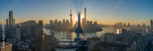 Plakat Shanghai Skyline and Huangpu River at Sunrise. Lujiazui District. Panoramic Aerial View.