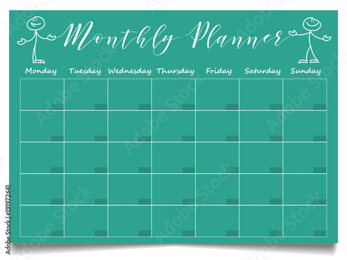 simple monthly planner template with hand drawn positive stick