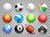 Realistic sports balls vector big set isolated on transparent background - 191972889