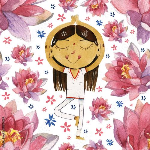 watercolor cute cartoon girl in yoga lotus pose seamless pattern - 191974099