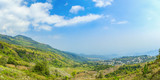 Panorama view of cabbage and strawberry farming in the mountains of Phetchabun, Thailand, Agricultural background